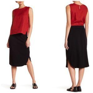 Eileen Fisher Curved Hem Black Jersey Knit Skirt